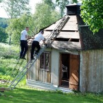 Utbyte av trasigt tak, lusthuset